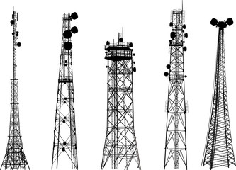 group with five antenna tower silhouettes on white Wall mural
