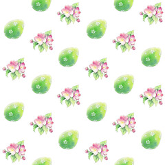 Seamless background with green Easter eggs and apple flowers