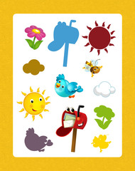 cartoon set of different happy elements and animals - searching game with shadows
