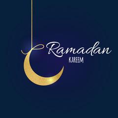 Gold moon, text Holy Month of Muslim Community, Ramadan Kareem dark greeting banner