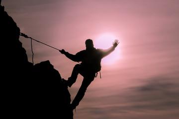 tırmanışçı silüet & ipli tırmanış