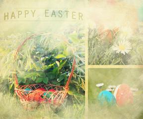 vintage easter background with several viral images of eggs and flowers, happy easter text added