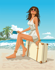 Traveler girl sitting on a suitcase on a tropical beach