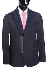 men's coat with shirt and tie on the mannequin, white background