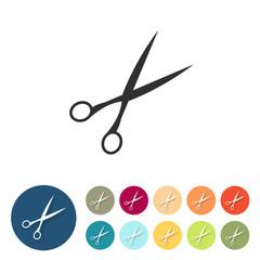 Button-Set bunt flach - Schere Friseur