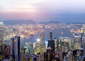 Victoria Peak Hong Kong at  twilight