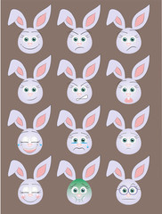 Funny emoticons of rabbits.