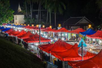 Luang Prabang night market at night.