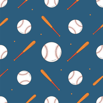 Baseball Seamless Pattern. Bat and Ball Pattern