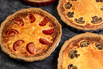 Picture of vegetable pies with tomatoes and mushrooms on grey background
