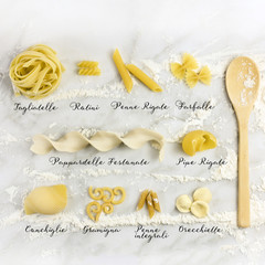 Different varieties of pasta with their names