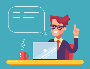 Handsome businessman working on his laptop holding up his index finger and giving advice. Attractive manager speaking with speech bubble. Modern character design. Vector illustration in the flat style