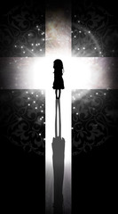 Never stop believing praying girl silhouette art photo manipulation