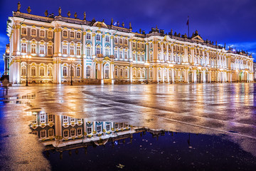 night view of the Winter Palace in St. Petersburg