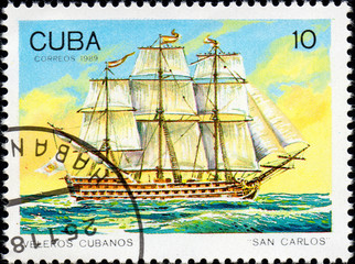 UKRAINE - CIRCA 2017: A postage stamp printed in Cuba shows sailing ship San Carlos, from the series Cuban sailboats, circa 1989