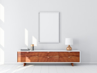 White Poster Frame hanging on the wall, modern bureau with Table lamp. 3d rendering