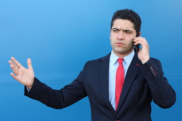 Man getting upset during phone call