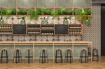 Modern design of the bar in loft style.  3D visualization of the interior of a cafe with a bar counter with vintage and Provence details.