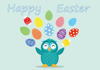 A cute owl has a happy smile and turns many colorful Easter eggs.