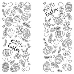 Vector pattern for Easter Eggs, flowers, bunny Happy easter pattern Coloring page