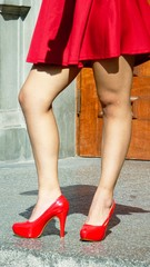 Legs Of Teen Girl Red Heels