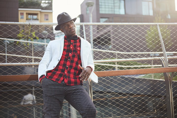 Fashion portrait of stylish young african man