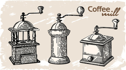 Collection of vintage coffee mills. Old coffee grinder. Vector illustration.