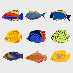 Icon reef fish set.
