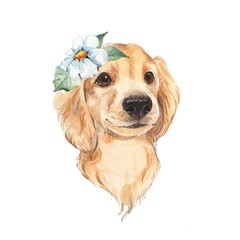 Cute dog sketch isolated on white background. Hand painted. Watercolor illustration