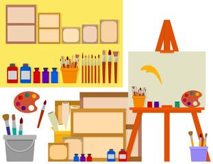 art studio with artist tools