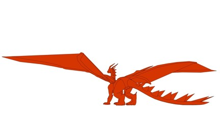 outlined dragonl isolated on white 3d rendering