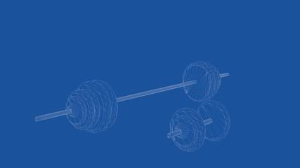 3d rendering of an outlined dumbells