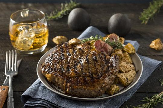 Homemade Steak Potatoes and Whiskey