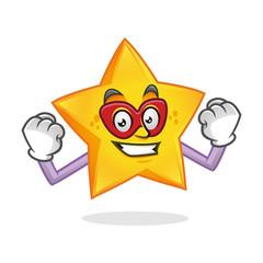 Superhero star mascot, superhero star character, star cartoon vector