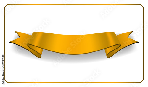 gold ribbon banner golden satin glossy bow blank design label
