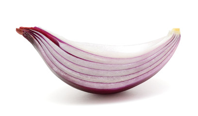 Sliced red onions isolated on white background
