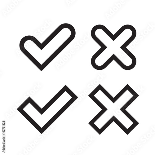 Tick And Cross Signs Black Checkmark Ok And X Icons Isolated On