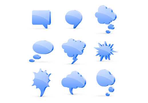 Blue Glossy Speech Bubble Icons