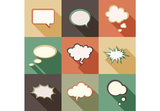 Retro Style Speech Bubble Icons 2