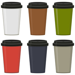 Colored cups with black lid, set. For coffee, espresso, latte, cappuccino. Abstract concept. Vector illustration on white background.