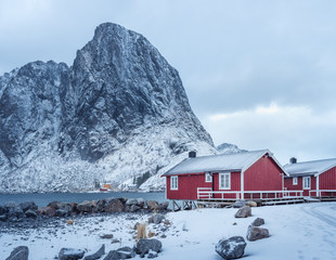 Norway local villages at winter mountain landscape