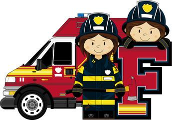 F is for Fireman Alphabet Illustration