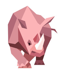 Pink rhinoceros in a geometric style