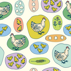 Hen, Little Chickens and Eggs Seamless Pattern