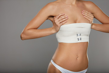Surgical Lines. Woman Body In White Underwear With Marks On Skin