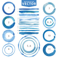 Watercolor circle stain,line brushes.Cyan,blue.Summer