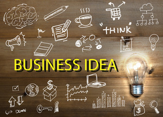 Light bulb and drawing business with wood background