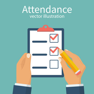 Attendance concept. Businessman holding checklist and pencil. Questionnaire, survey, clipboard, task list. Filling out forms, planning. Vector illustration flat design. Isolated on background.