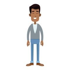 happy man wearing casual clothes cartoon icon over white background. colorful design. vector illustration