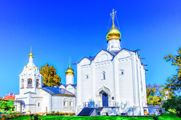 View of the church next to the Trinity-St. Sergius Lavra. Tourist attraction of Puotula, a UNESCO World Heritage Site.